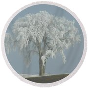 Frost Covered Lone Tree Round Beach Towel by Penny Meyers