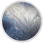 Frost Ferns Round Beach Towel by Joy Nichols