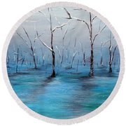 Round Beach Towel featuring the painting Frost Like Ashes by Meaghan Troup
