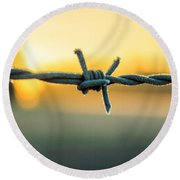Frost On Barbed Wire At Sunrise Round Beach Towel