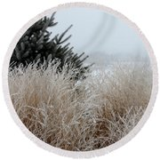 Frosted Grasses Round Beach Towel