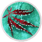 Frosted Japanese Maple Round Beach Towel