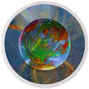Round Beach Towel featuring the painting Frosted Still by Robin Moline