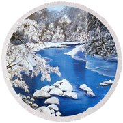 Round Beach Towel featuring the painting Frosty Morning by Sharon Duguay