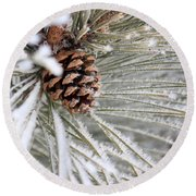 Frosty Norway Pine Round Beach Towel by Penny Meyers