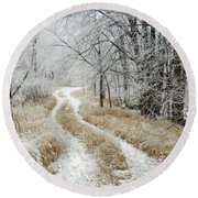 Frosty Trail Round Beach Towel by Penny Meyers