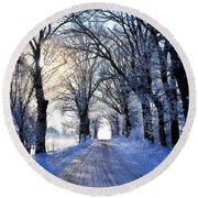 Frozen Alley Round Beach Towel