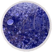 Frozen Bubbles In The Merced River Yellowstone Natioinal Park Round Beach Towel
