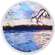 Frozen Delaware River Sunset Round Beach Towel