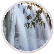 Frozen Dry Falls Round Beach Towel