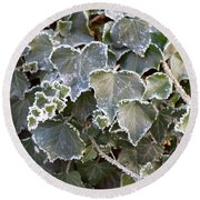 Round Beach Towel featuring the painting Frozen Hedera Helix 2 by Felicia Tica