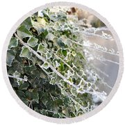 Round Beach Towel featuring the painting Frozen Hedera Helix by Felicia Tica
