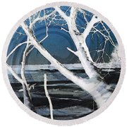 Round Beach Towel featuring the photograph Frozen In Time by Shawna Rowe