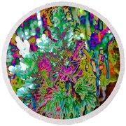 Round Beach Towel featuring the digital art Frozen Juniper by Mae Wertz