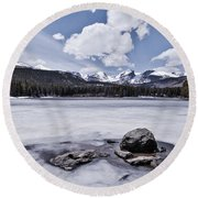 Round Beach Towel featuring the photograph Frozen Lake by Mae Wertz