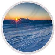 Frozen Lake Minnewaska Round Beach Towel
