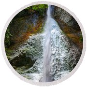 Frozen Marymere Falls Round Beach Towel