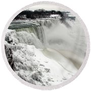Frozen Niagara And Bridal Veil Falls Round Beach Towel
