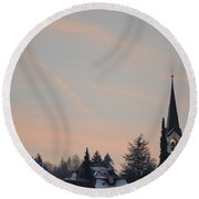 Round Beach Towel featuring the photograph Frozen Sky 2 by Felicia Tica