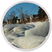 Round Beach Towel featuring the photograph Frozen Surf by James Peterson