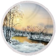Frozen Round Beach Towel by Vesna Martinjak
