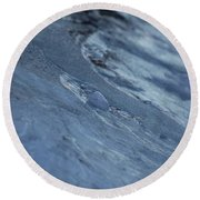Round Beach Towel featuring the photograph Frozen Wave by First Star Art