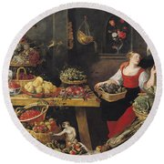 Fruit And Vegetable Market Oil On Canvas Round Beach Towel by Frans Snyders