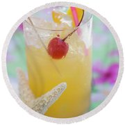 Fruit Cocktail With Cherry And Lemon Peel Round Beach Towel