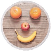 Fruit Face Round Beach Towel by Tom Gowanlock