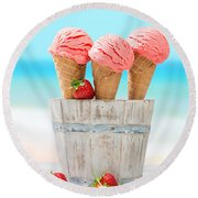 Fruit Ice Cream Round Beach Towel by Amanda Elwell