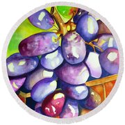 Purple Grapes Round Beach Towel