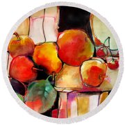 Fruit On A Dish Round Beach Towel