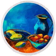 Round Beach Towel featuring the painting Fruit Palette by Elise Palmigiani