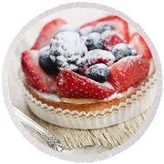 Fruit Tart With Spoon Round Beach Towel