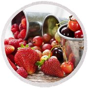 Fruits And Berries Round Beach Towel