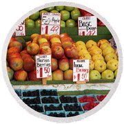 Fruits At A Market Stall, Pike Place Round Beach Towel