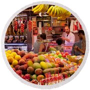 Fruits At Market Stalls, La Boqueria Round Beach Towel by Panoramic Images