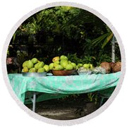 Fruits On A Table In Lawn, Bora Bora Round Beach Towel