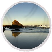 Ft. Bragg Moonset Round Beach Towel