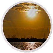 Round Beach Towel featuring the photograph Ft. Pierce Florida Docks At Dusk by Janice Rae Pariza