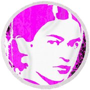 Round Beach Towel featuring the mixed media Fuchsia Frida by Michelle Dallocchio