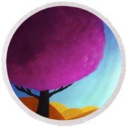 Round Beach Towel featuring the painting Fuchsia Tree by Anita Lewis