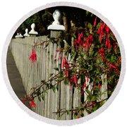 Fuchsias  And Fence Posts Round Beach Towel