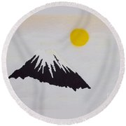 Fuji Through The Cloudy Mist Round Beach Towel by Pg Reproductions