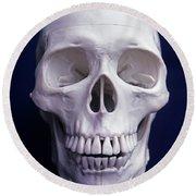 Full Front Head-on Human Skull On Black Round Beach Towel