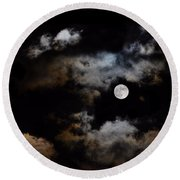 Full Moon After The Storm Round Beach Towel