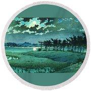 Full Moon At Hiroura Round Beach Towel
