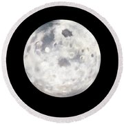 Full Moon In Black Night Round Beach Towel