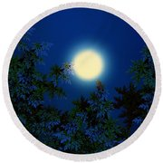 Full Moon Round Beach Towel by Klara Acel