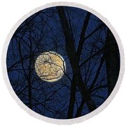 Full Moon March 15 2014 Round Beach Towel